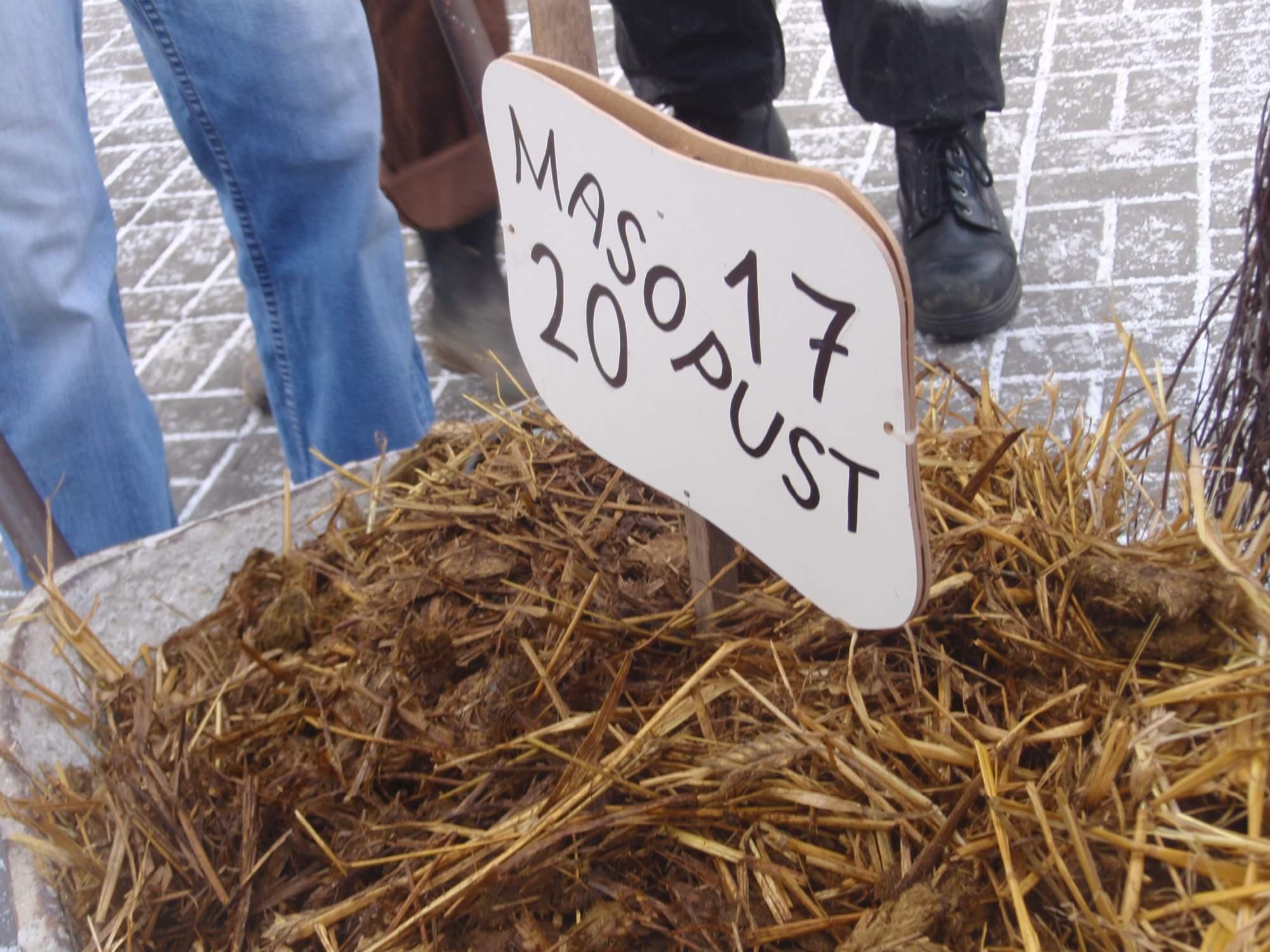Symbolem letošního masopustu se stal kotouč s hnojem. Foto: Marie Majdičová