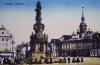 Chrudim - Morový sloup a radnice na náměstí.