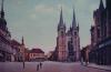 Chrudim - Náměstí s kostelem sv.Salvátora a morovým sloupem.