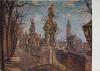 Kutná Hora - Sochy před Jesuitskou kolejí a kostel sv.Jakuba. Maloval Joserf Krčil.