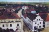 Lázně Bohdaneč - Z věže kostela, radnice a silnice k Pardubicím.